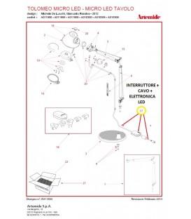 Artemide ricambio interruttore, cavo ed elettronica, Tolomeo micro tavolo led