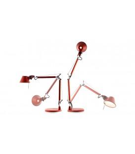 Artemide Tolomeo micro tavolo alogeno rosso metalizzato