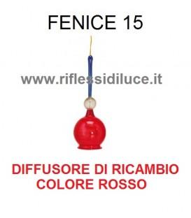 Artemide fenice 15 ricambio diffusore in vetro rosso