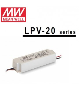 Mean Well alimentatore per led 24V 20W in contenitore plastico IP65 per esterno