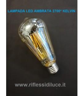 Lampadina led ambrata 8W 2700° Kelvin attacco E27