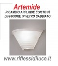 Artemide Egisto 38 vetro sabbiato di ricambio