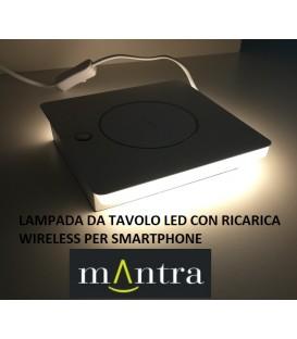 Mantra zanzibar nero lampada da tavolo led con ricarica wireless per smartphone