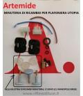 Artemide Utopia busta minuteria di ricambi con N° 3 pomelli di colore grigio