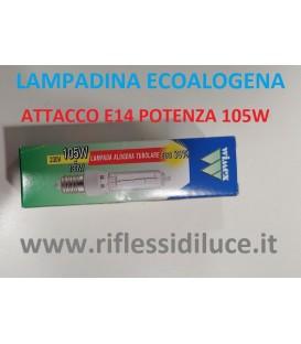 Lampadina ecoalogena tubolare attacco E14 potenza 105W