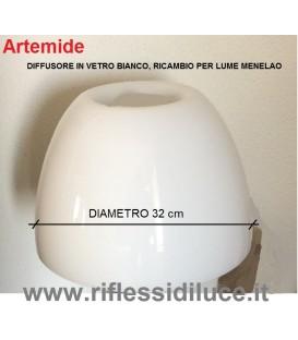 Artemide diffusore in vetro bianco ricambio per Menelao lume