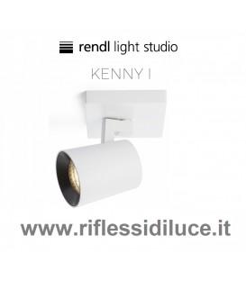 Rendl Light kenny 1 faretto parete soffitto a 1 lampadina struttura bianca ghiera nera
