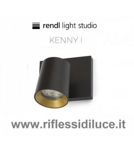 Rendl Light kenny 1 faretto parete soffitto struttura nera ghiera interna oro