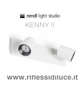 Rendl Light kenny 2 faretto a 2 luci parete soffitto struttura bianca ghiera interna nera