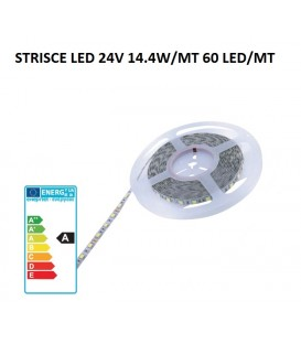 Strisce led IP20 24V 14.4W/MT 3000°K professionali